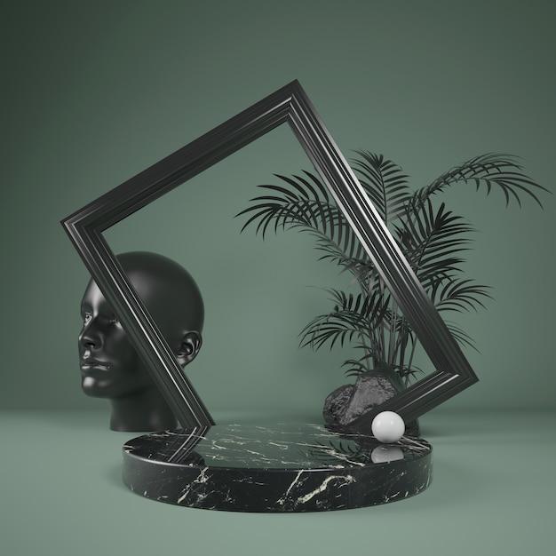 Scène Abstraite En Marbre Noir Podium Pour Spectacle Avec Cadre Noir Et Palmier à Feuilles, Illustration 3d Photo Premium