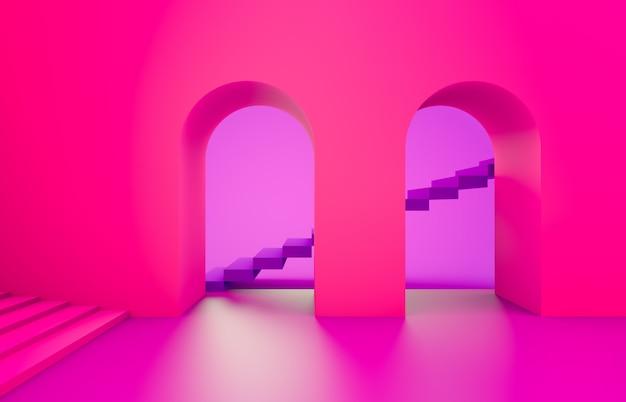 Scène Aux Formes Géométriques, Voûte Avec Podium Aux Couleurs Vives Rose Néon, Fond Minimal, Fond Rose. Rendu 3d. Photo Premium