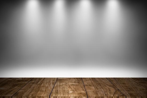 Scène en bois ou plancher en bois avec design de fond de décoration d'éclairage blanc pour des produits d'exposition Photo Premium