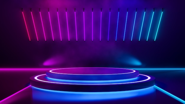Scène circulaire et néon violet Photo Premium