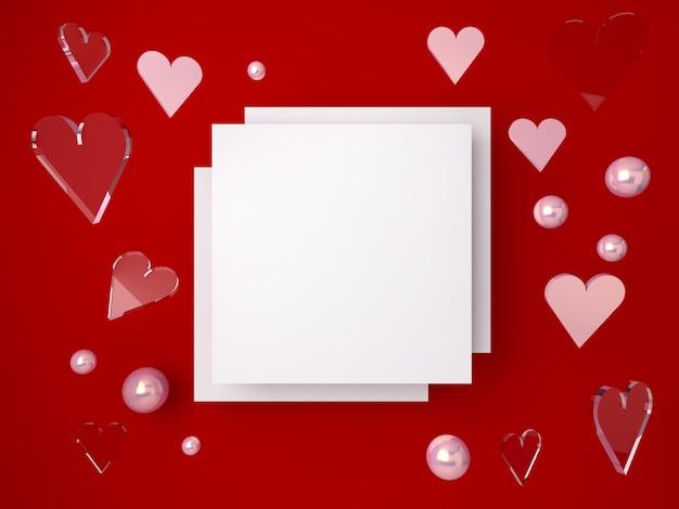 Scène Minimale De La Saint-valentin 3d, Coeurs Romantiques Tombant. Scène Abstraite Or Et Formes De Verre Avec Espace Vide Photo Premium