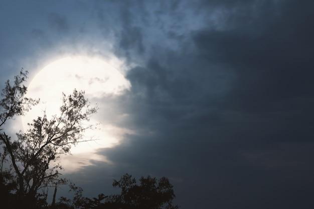 Scène de nuit fantasmagorique avec lune et nuages sombres Photo Premium