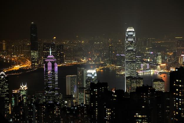 Scène De Nuit De Hong Kong, Vous Pouvez Voir La Pollution Photo Premium