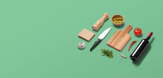 Scène De Perspective En Vue De Dessus à Plat Vert Avec Des Articles De Préparation Culinaire Dans Une Cuisine Ou Un Restaurant Italien Photo Premium