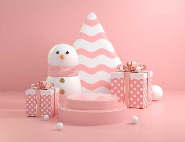 Scène De Podium Rose De Noël Avec Bonhomme De Neige Et Collections De Coffrets Cadeaux Rendu 3d Photo Premium