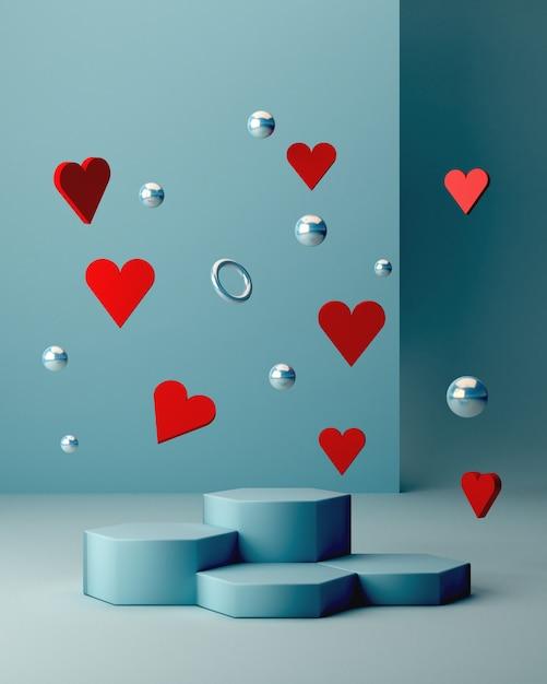 Scène De Saint Valentin Avec Des Formes Géométriques Avec Un Podium Vide. Formes Géométriques Photo Premium