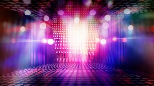 Scène De Théâtre Vide Floue Avec Des Projecteurs Colorés Amusants, Image Abstraite De Fond D'éclairage D'éclairage De Concert Photo Premium
