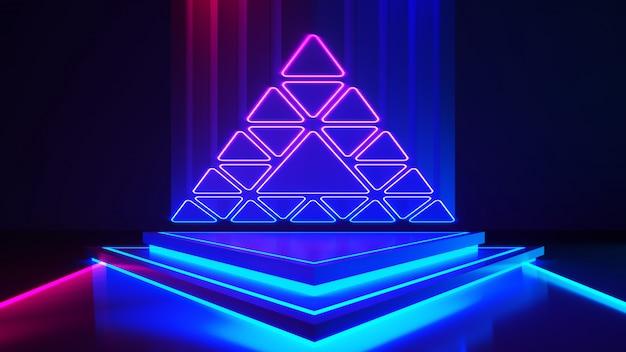 Scène triangle avec et et néon violet Photo Premium