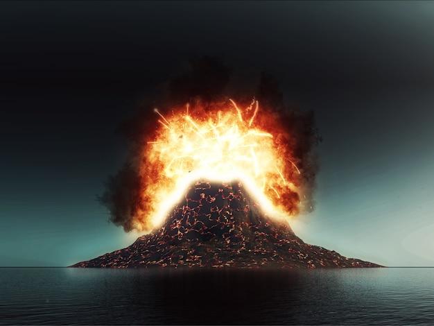 Scène volcanique explosant en 3d Photo gratuit