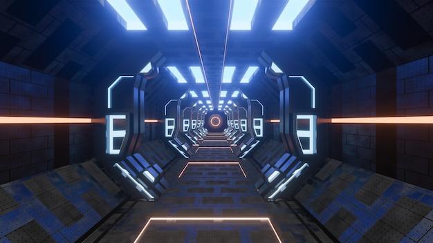 Sci-fi grunge endommagé fond de couloir métallique illuminé avec rendu 3d de néons - illustration Photo Premium