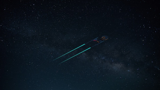 Science image fictive d'un vaisseau spatial dans les profondeurs et la voie lactée Photo Premium