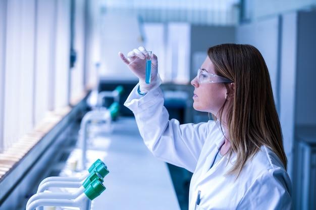 Scientifique en regardant un tube à essai dans le laboratoire Photo Premium