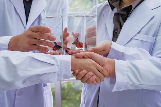Des scientifiques se joignent à handshaking pour féliciter le succès de la recherche sur le poisson Photo Premium