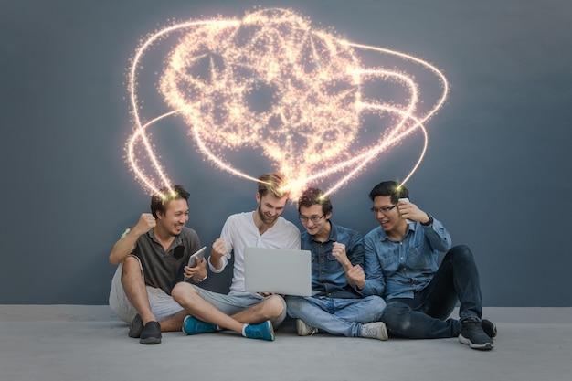 Scintillement de la forme du cerveau d'une intelligence artificielle sur group of asian Photo Premium