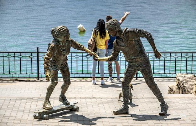 Sculpture Par Le Lac Valea Morilor En Moldavie Photo Premium