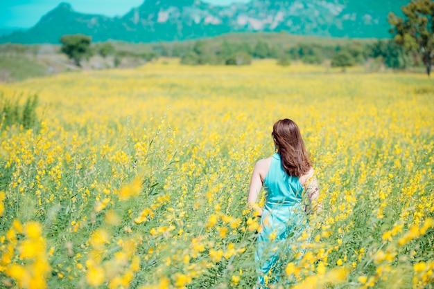 Se détendre dans un pré au soleil d'été, au printemps. Photo Premium