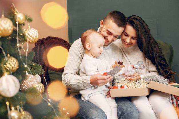 Séance Famille, Chez Soi, Près, Arbre Noël Photo gratuit