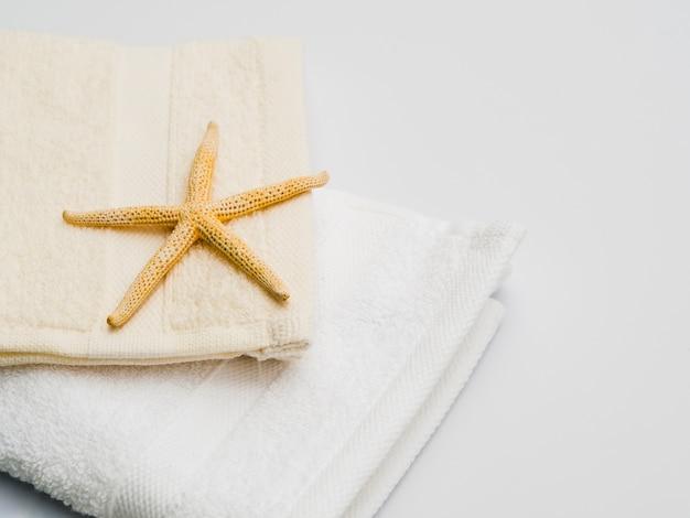 Seastar sur le dessus d'une serviette Photo gratuit