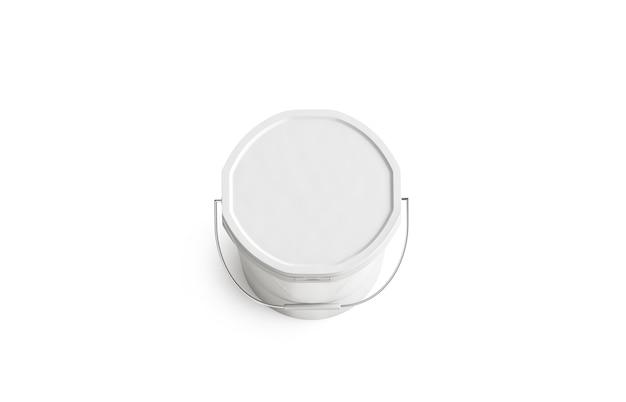 Seau de peinture blanche vierge avec poignée, vue de dessus, isolée Photo Premium