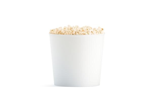 Seau De Pop-corn Blanc Vierge Isolé, Vue De Face Photo Premium