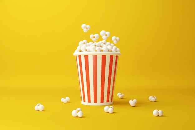Seau à Pop-corn. Collation De Film. Concept De Cinéma. Illustration De Rendu 3d. Photo Premium