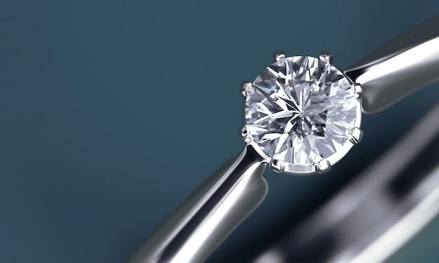 Section De Bague En Diamant Isolé Sur Fond Bleu Profond Photo Premium