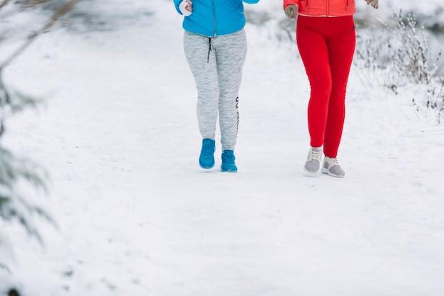 Section basse de deux amies marchant sur un paysage gelé Photo gratuit