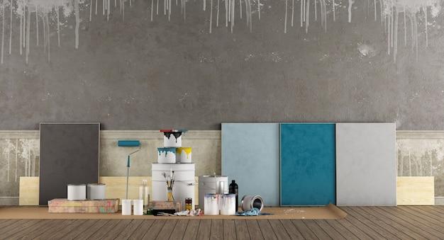 Sélectionnez Un échantillon De Couleur Pour Peindre L'ancien Mur Photo Premium