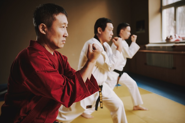 Sensei et deux étudiants en arts martiaux en formation de blanc. Photo Premium