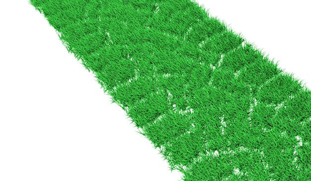 Sentier De Rendu 3d D'une Voiture Couverte D'herbe Verte Photo Premium