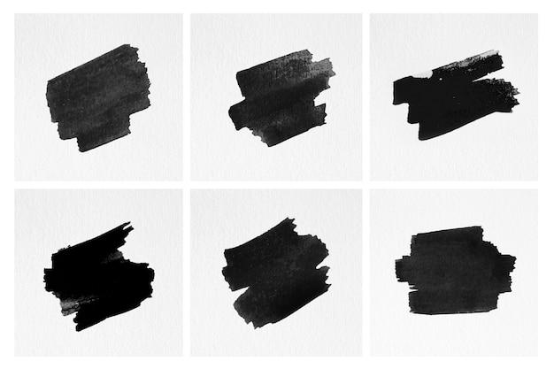 Série de coups de pinceau isolés Photo gratuit