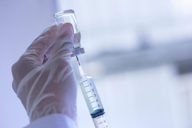 Seringue, injection médicale, flacon, Photo Premium