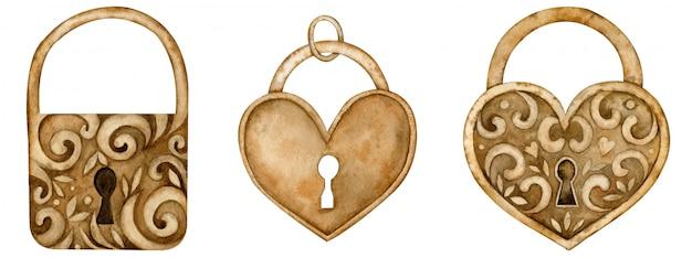Serrures En Forme De Coeur Aquarelle Pour La Saint-valentin Et Le Concept De L'amour. Illustration Dessinée à La Main Photo Premium