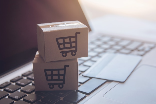Service d'achat sur le web en ligne. avec paiement par carte de crédit et offre la livraison à domicile Photo Premium