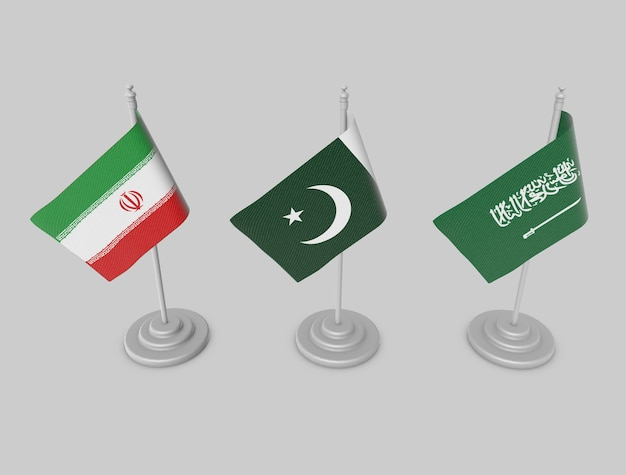 Set de drapeaux - paksitan, iran, ksa Photo Premium