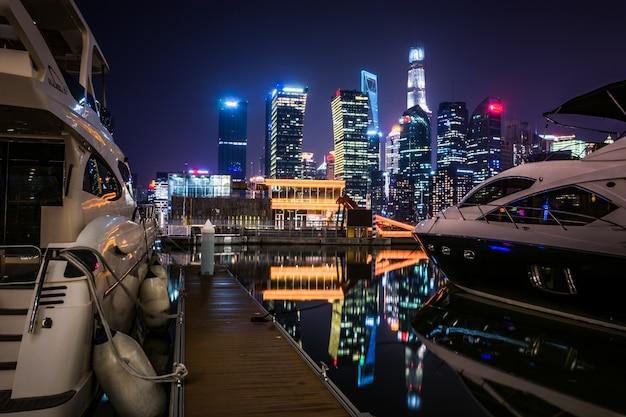 Shanghai la nuit, chine Photo gratuit
