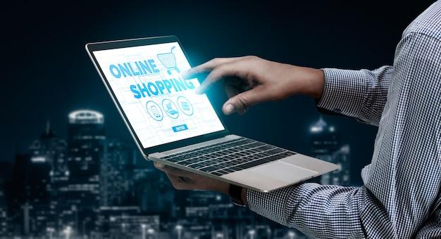 Shopping en ligne et technologie de la monnaie internet Photo Premium