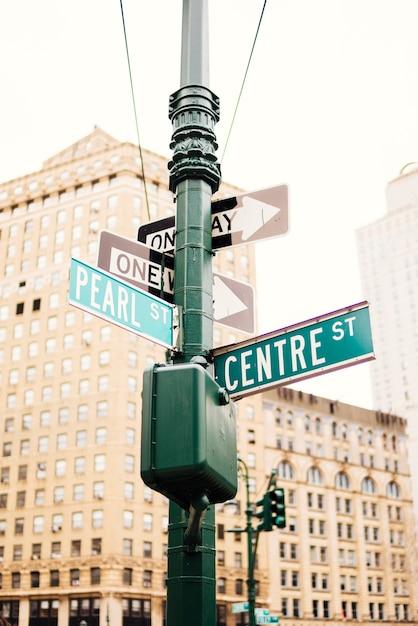 Signalisation routière sur le pilier dans la rue Photo gratuit