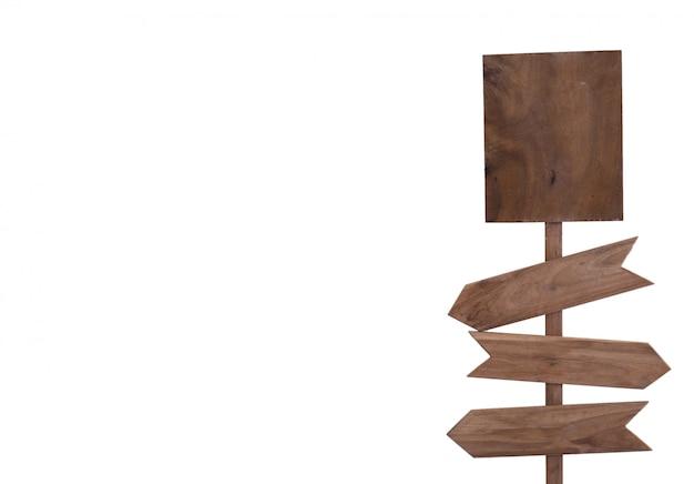 Signe en bois isolé Photo Premium