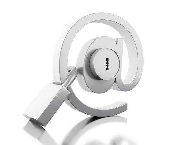 Signe de courrier 3d avec serrure et cadenas Photo Premium