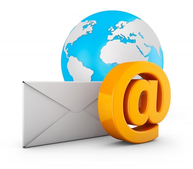 Un signe de courrier électronique, une enveloppe et un globe. rendu 3d. Photo Premium