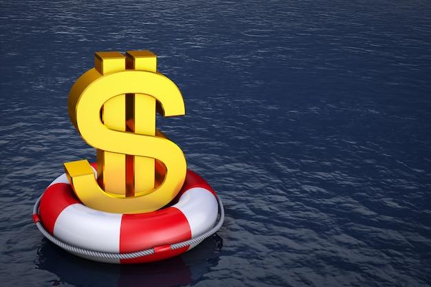 Un signe dollar sur la bouée de sauvetage. rendu 3d. Photo Premium