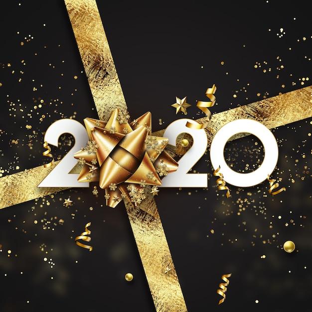 Signe doré du nouvel an 2020 sur fond noir avec des bonbons et des cadeaux Photo Premium