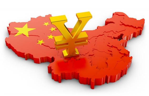 Signe doré du yuan sur la carte de la chine. rendu 3d. Photo Premium