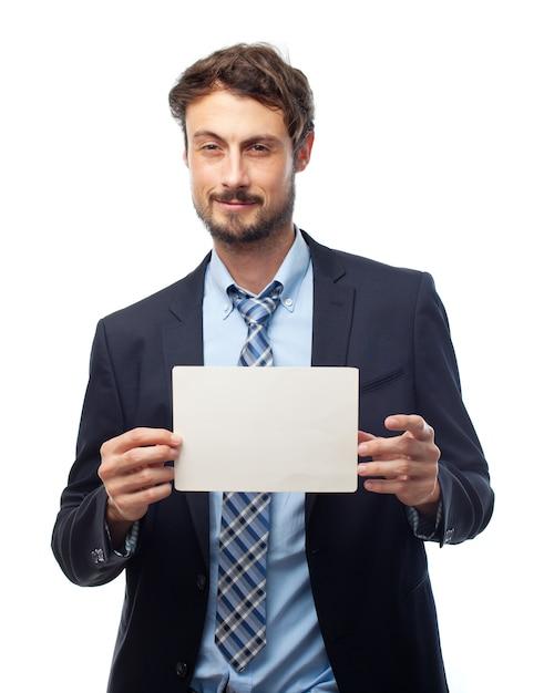 Signe les gens d'affaires blanc drôle Photo gratuit