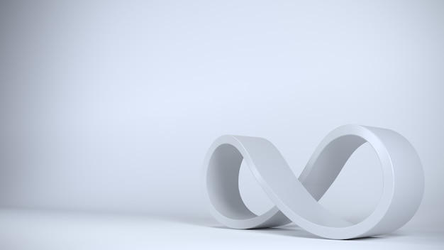 Signe infini bleu forme spirale fermée. Photo Premium