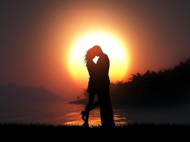 Silhouette 3d d'un couple d'amoureux contre un paysage de coucher de soleil tropical Photo gratuit