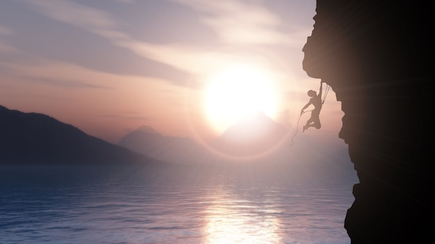 Silhouette 3d d'un grimpeur extrême contre un paysage océanique au coucher du soleil Photo gratuit