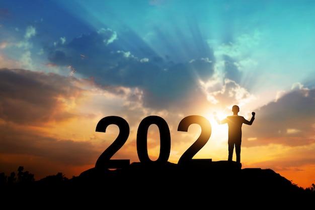 Silhouette Du Nouvel An 2021, Bonne Année Et Concept De Célébration Photo Premium