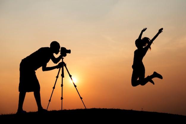 Silhouette d'un photoshoot Photo gratuit